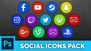 Free Photoshop Pack | Social Icons & Logos (YouTube, Twitter, Twitch & More)