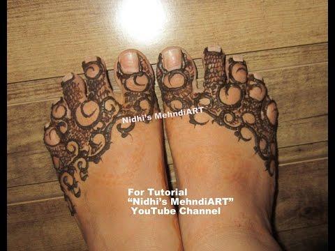 Gulf Style Simple Feet Henna Mehndi Design Tutorial Youtube