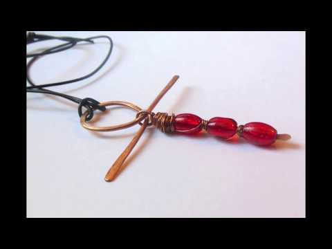 Handmade wire Ankh. Wire wrapped stones.