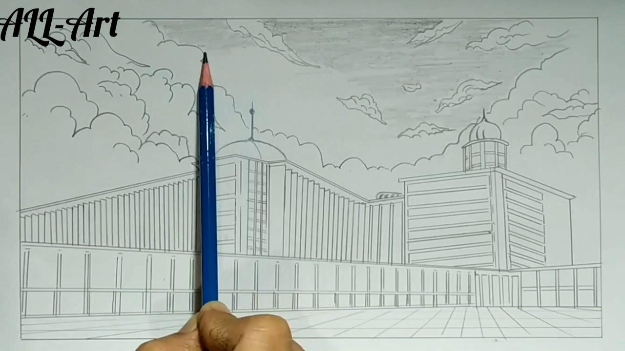Cara Mudah Menggambar Mesjid Istiqlal Di Jakarta Youtube