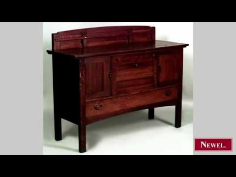 Antique American Mission oak sideboard with backrail  (
