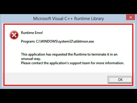 How to fix Runtime Error-atibtmon.exe in windows 8/8.1/10