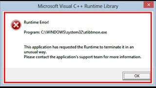 How to fix Runtime Error-atibtmon.exe in windows 8/8.1/10