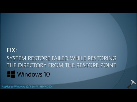 [FIX] System Restore Failed While Restoring The Directory From The Restore Point