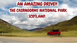 An amazing 'Rollercoaster' Drive through the Cairngorms. Scotland campervan Trip. July 2017.