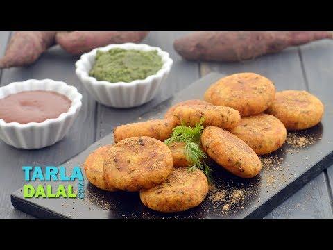 Sweet Potato Tikki, Shakarkand Tikki by Tarla Dalal