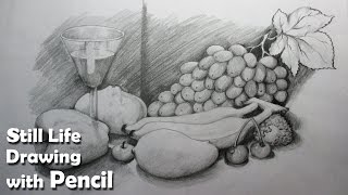 How to Draw A Still Life : Fruits in Pencil | Step by step