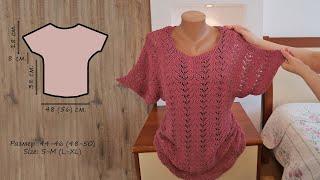 Кружевная кофточка спицами (часть 3) 🦚 Lace blouse knitting pattern (part 3)