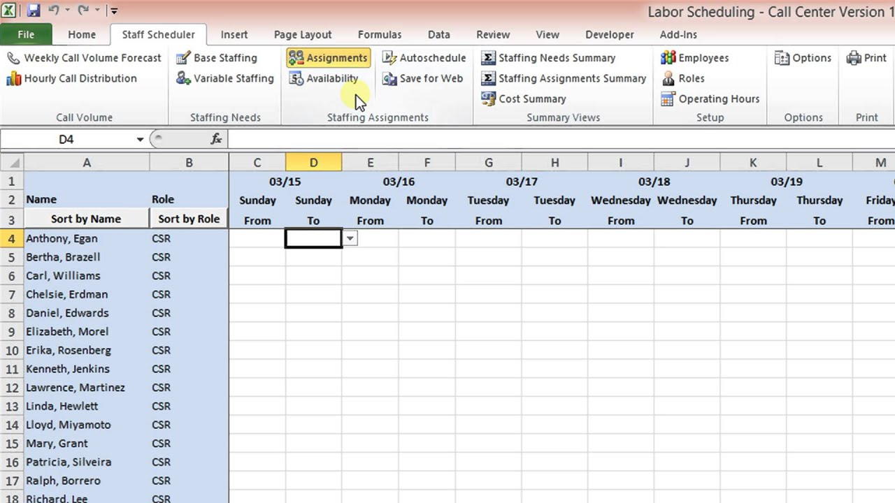 Labor Scheduling Template for Excel Call Center Version Overview ...