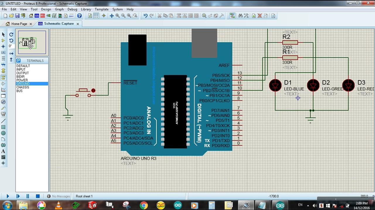 How to add an external reset switch arduino proteus