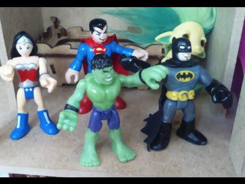 Casa De Boneca Imaginext Batman Hulk Super Homem Mulher Maravilha