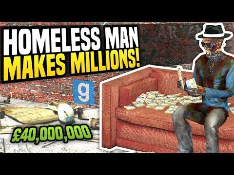 HOMELESS MAN MAKES MILLIONS - Gmod DarkRP | The Hobo Challenge!
