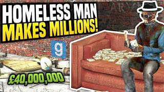 HOMELESS MAN MAKES MILLIONS - Gmod DarkRP   The Hobo Challenge!