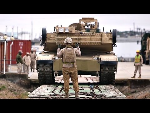 Marines Unload M1 Abrams Tanks from Train