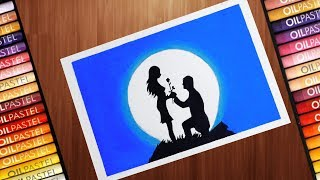 How to Drawing Scenery of Moonlight step by step with Oil Pastel and CD marker | Easy Drawing