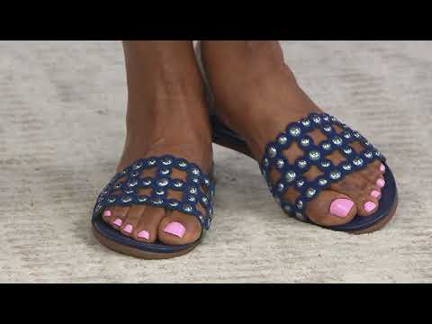 16c235dd02e Vince Camuto Leather Studded Slide Sandals - Ellanna on QVC