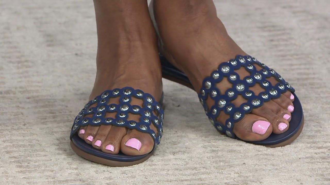 Vince Camuto Leather Studded Slide Sandals Ellanna On