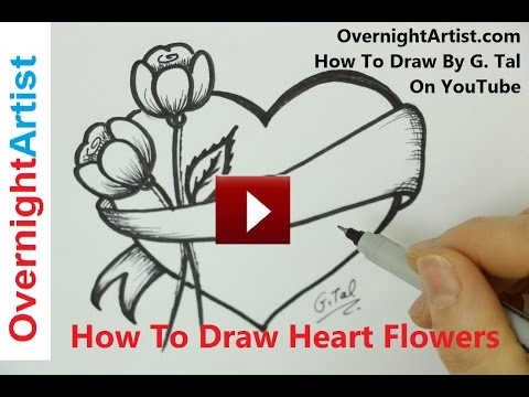 how to draw a heart with a bow