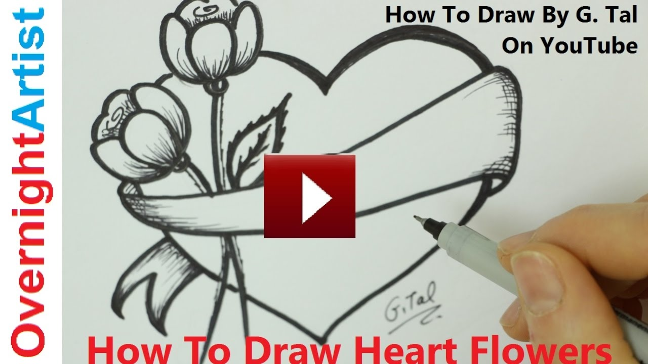 How To Draw Heart Flowers  Mothers Day Heart Flowers Drawing