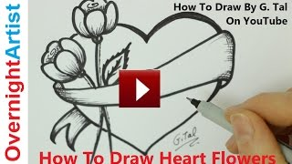 How To Draw Heart Flowers - Mothers' Day Heart Flowers Drawing