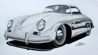 Porsche 356 Speedster Pencil Drawing