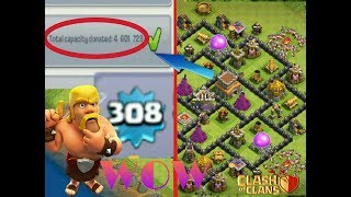 TOWNHALL 8 WHO HAS DONATED OVER 4 MILLION TROOPS IN CLASH OF CLANS !AND HIS XP IS 308 INSANE .