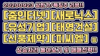 20200923 상한가/특징주 및 지수자리 리뷰!! […