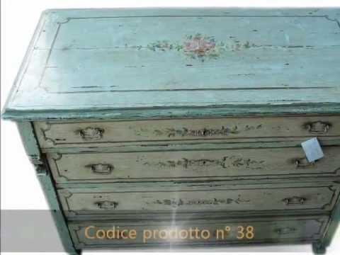 Mobili antichi antiquariato cassettone como 39 d 39 epoca 800 dipinto a mano youtube - Mobili antichi colorati ...