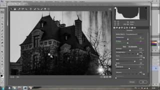 Черно-белая фотография в Adobe Camera RAW. Дом в стиле Голливудского хоррор.