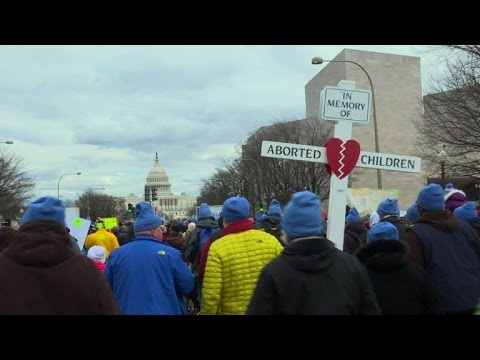 US anti-abortion camp rallies in DC with Trump's backing