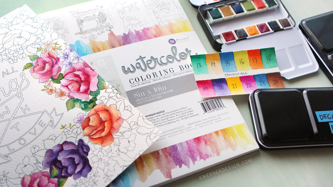 New Watercolor Pan Sets from Prima & Coloring Book Review - YouTube