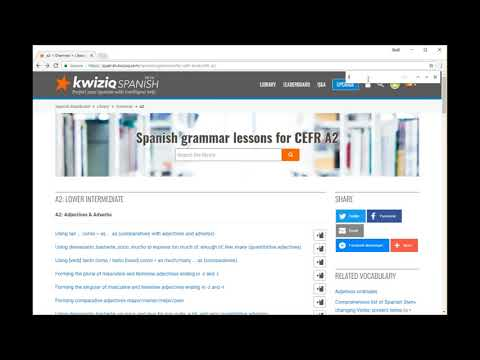 Example of creating a Kwiziq notebook to set Spanish homework