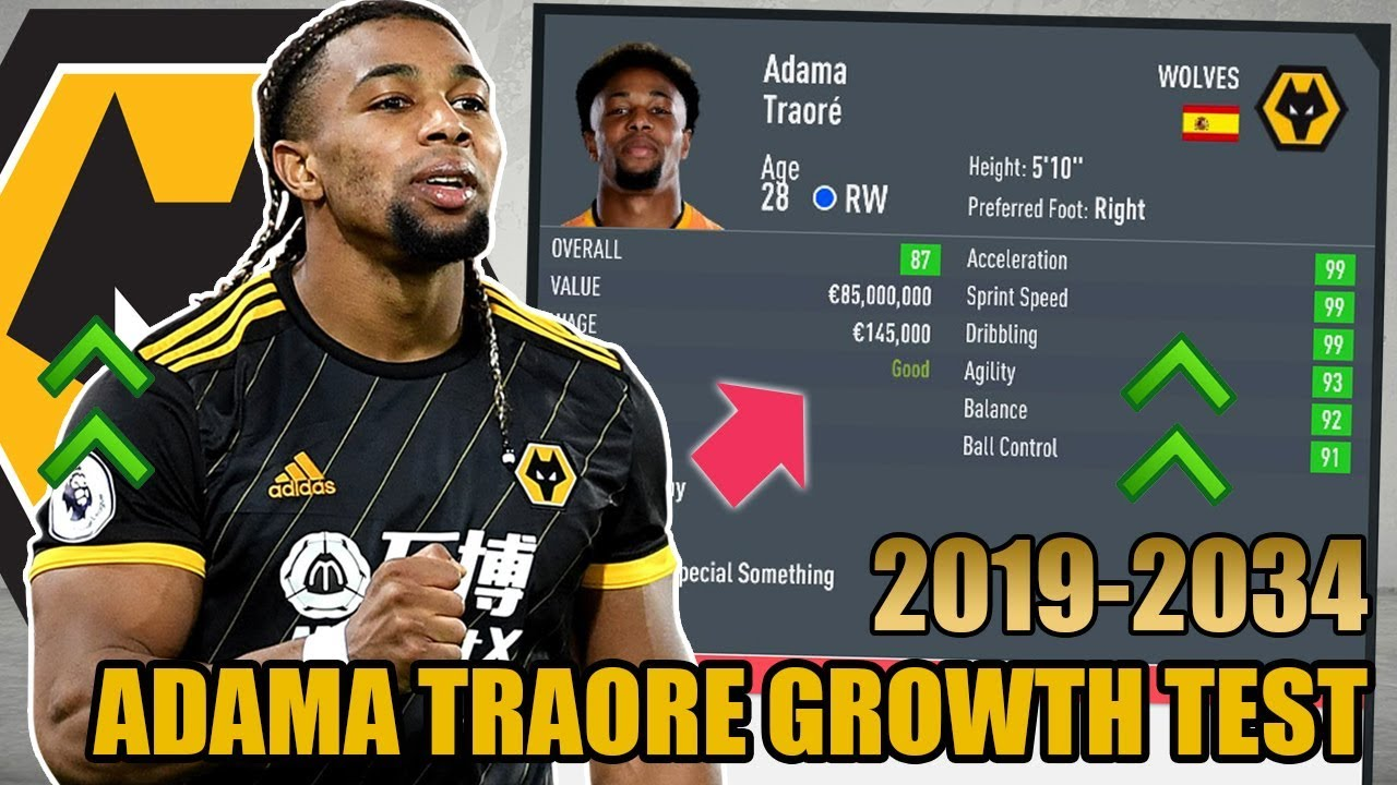 Adama Traore Growth Test 2019 2034 Fifa 20 Career Mode Youtube