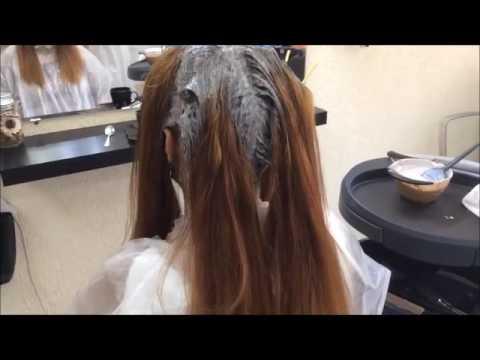 Окрашивание длинных волос в карамельный цвет с помощью Калифорнийского мелирования