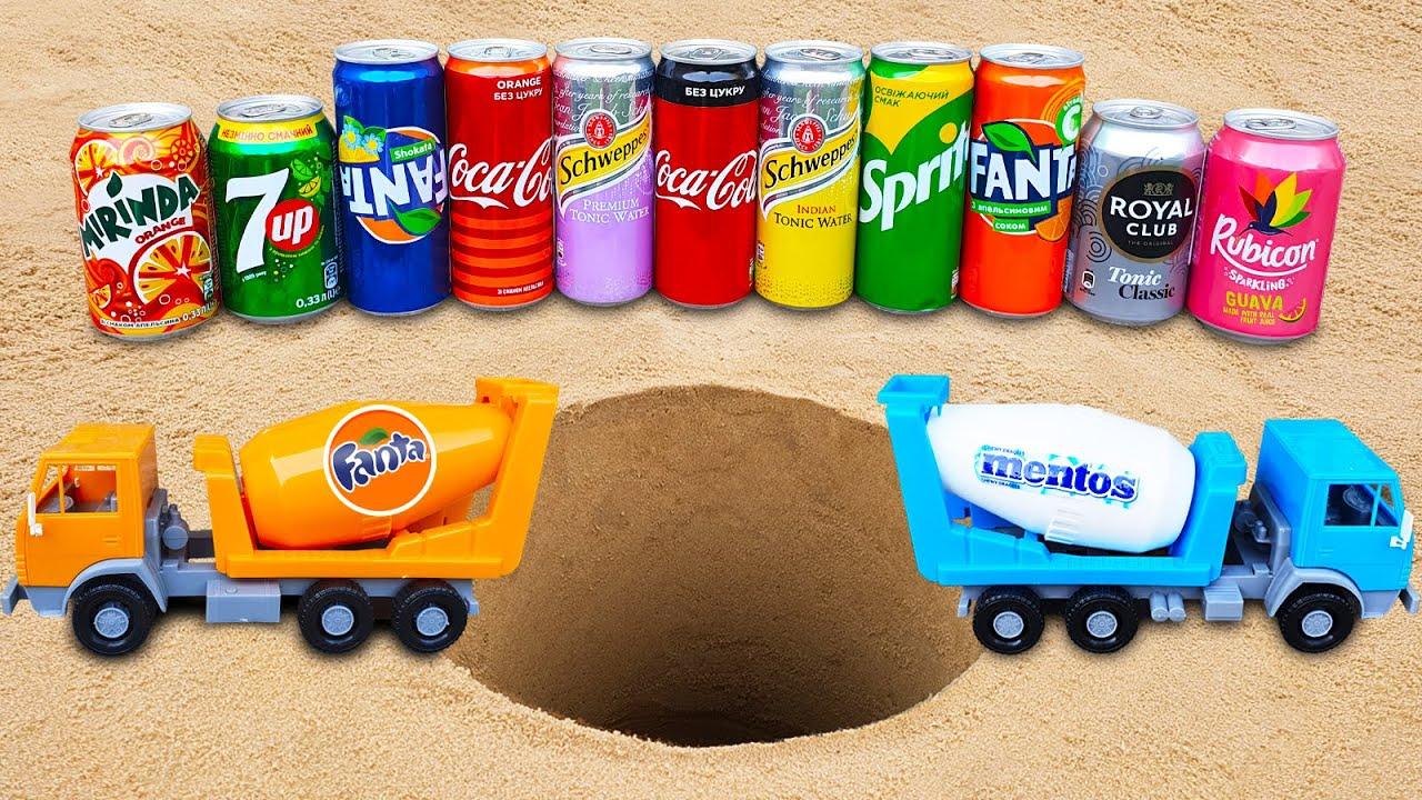 Concrete Mixer with Mentos vs Fanta, Coca-Cola, 7Up, Royal Club and Rubicon