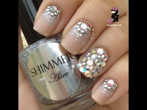 glitter bling crystal nails
