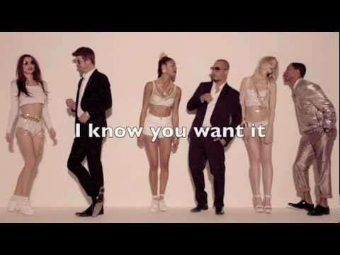 Robin Thicke  Blurred Lines ft TI & Pharrell HD with Lyrics on screen