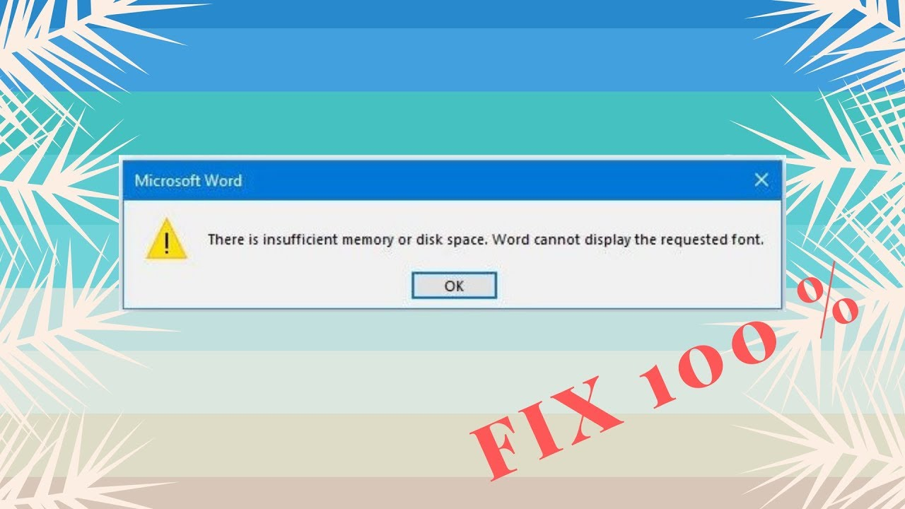 How to Fix - There is insufficient memory or disk space in Microsoft Word