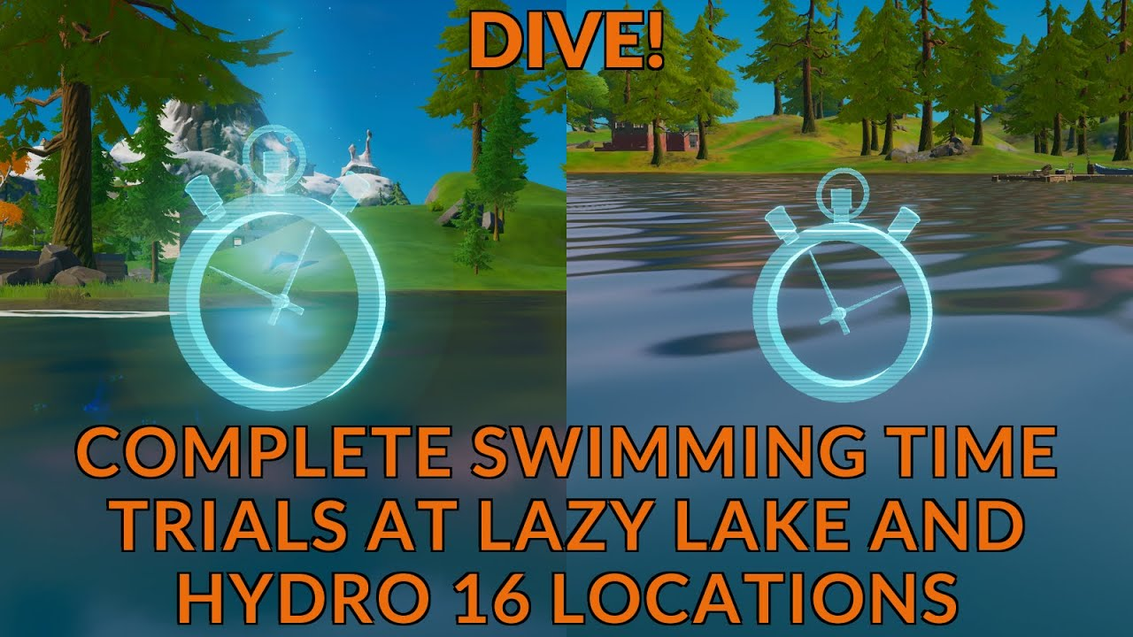 Fortnite Chapter 2 Season 1 Dive Challenges Swimming Time Trial At Lazy Lake Hydro 16 Locations