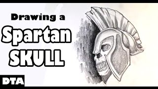 Drawings a Spartan Skull - Draw Tattoo Art