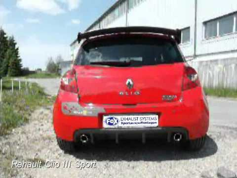 fox exhaust systems renault clio iii sport youtube. Black Bedroom Furniture Sets. Home Design Ideas