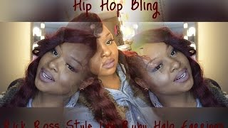 Hip Hop Bling | Rick Ross Style Lab Ruby Halo Gold Earrings | Review