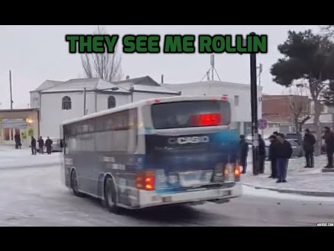 Crazy chaotic traffic drift in Azerbaijan as streets turn into ice rink