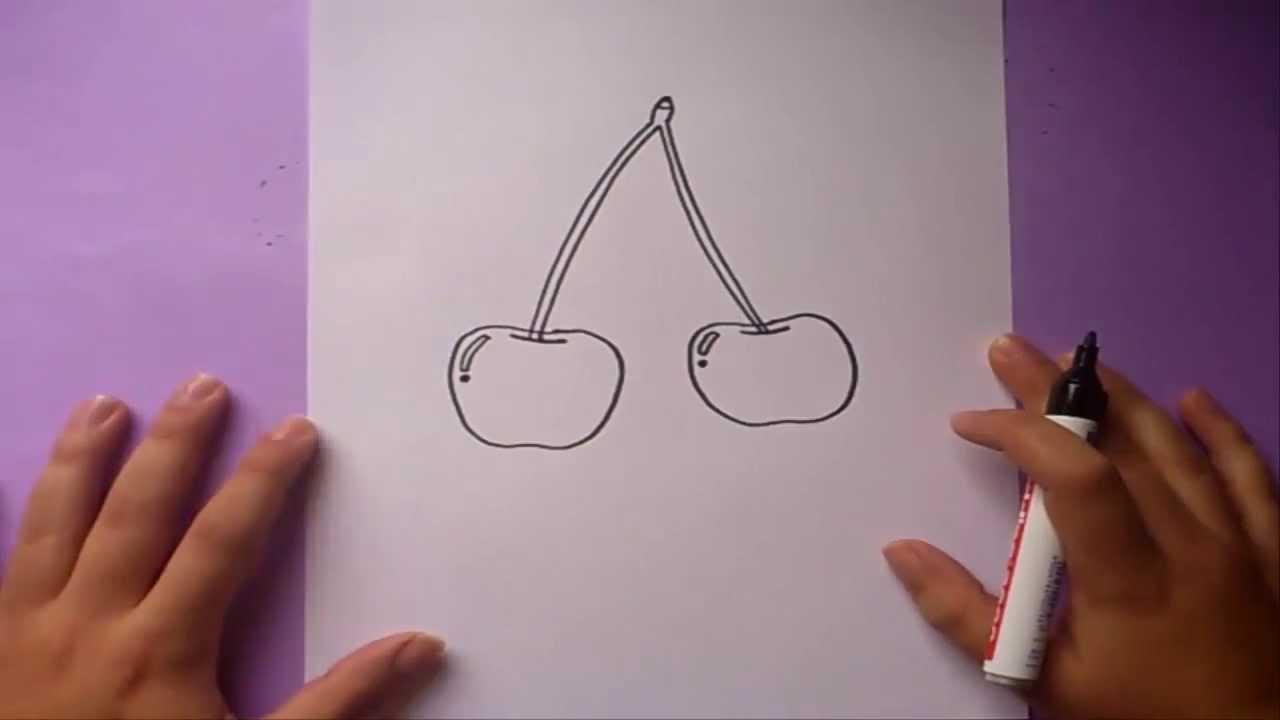 Como dibujar unas cerezas paso a paso | How to draw some cherries ...