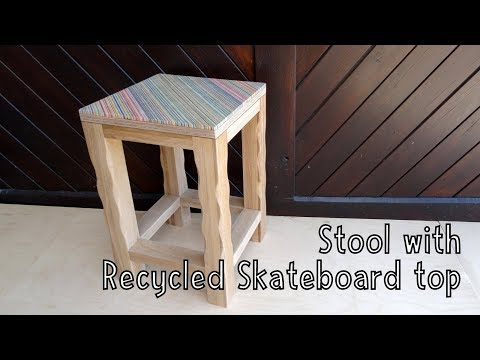 How To Make a Wooden Stool with a Recycled Skateboard Top - Wooden Creations