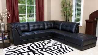 Abbyson Living - Black Leather Modular Sectional Set
