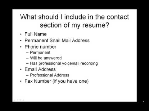 How to Write a Resume - What should I include in my contact ...