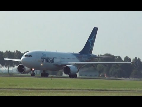 Planes Schiphol | AWESOME engine sound take off Delta 767 & Air Transat A310!