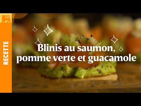 Blinis au saumon, pomme verte et guacamole