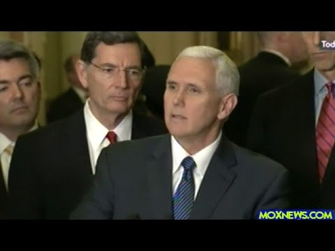 Mike Pence Joins Senate Republicans To Talk To The Press About The Plan To Replace ObamaCare